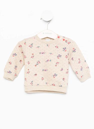 DeFacto Kız Bebek Çiçek Baskılı Sweatshirt Gri
